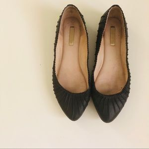 Real Leather Black Flats